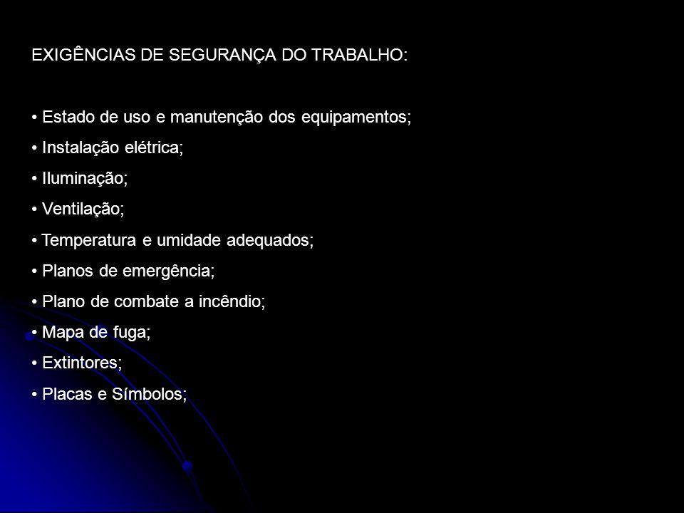 EXIGÊNCIAS DE SEGURANÇA DO TRABALHO: