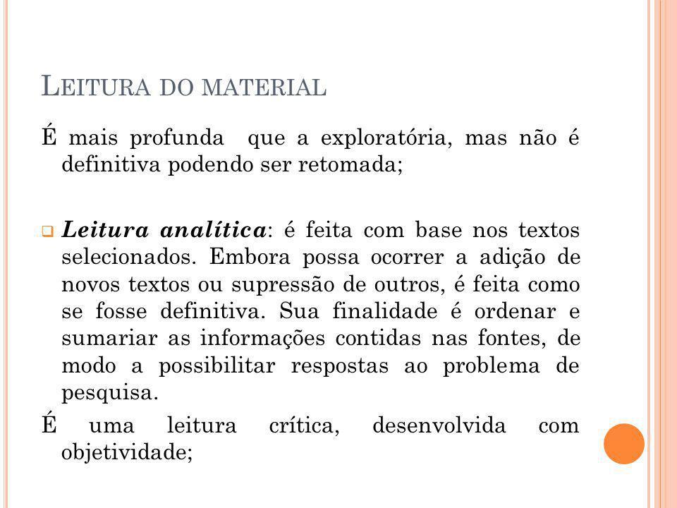 Leitura do material É mais profunda que a exploratória, mas não é definitiva podendo ser retomada;