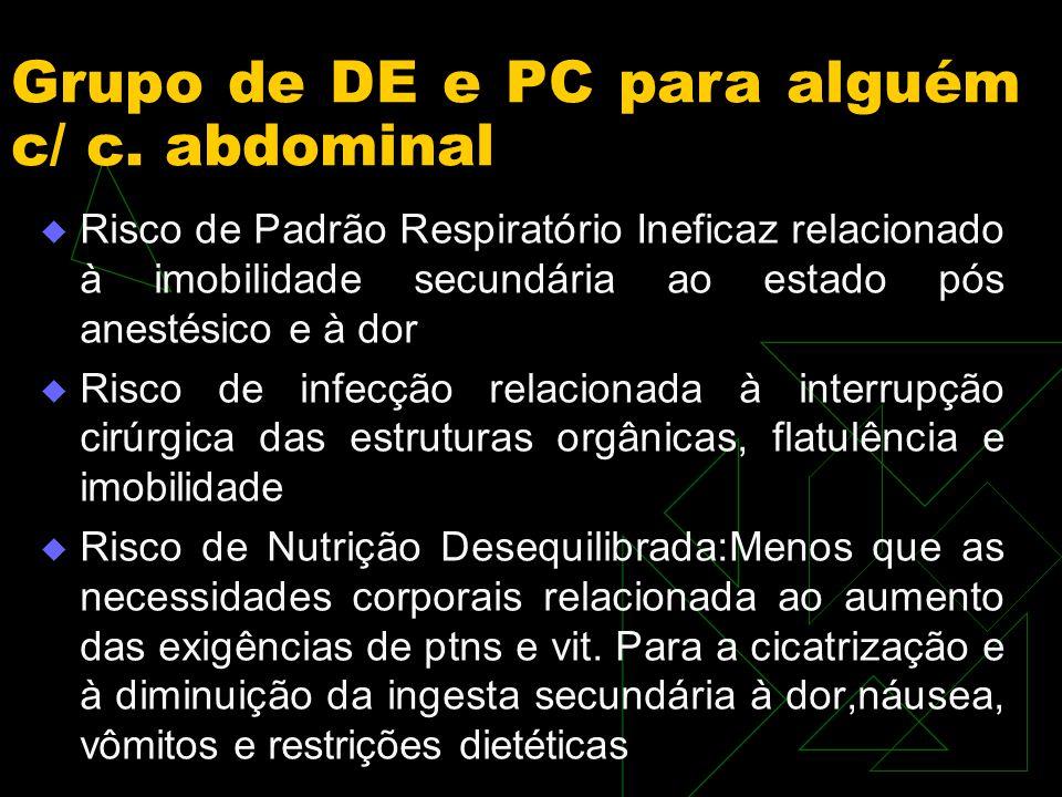 Grupo de DE e PC para alguém c/ c. abdominal