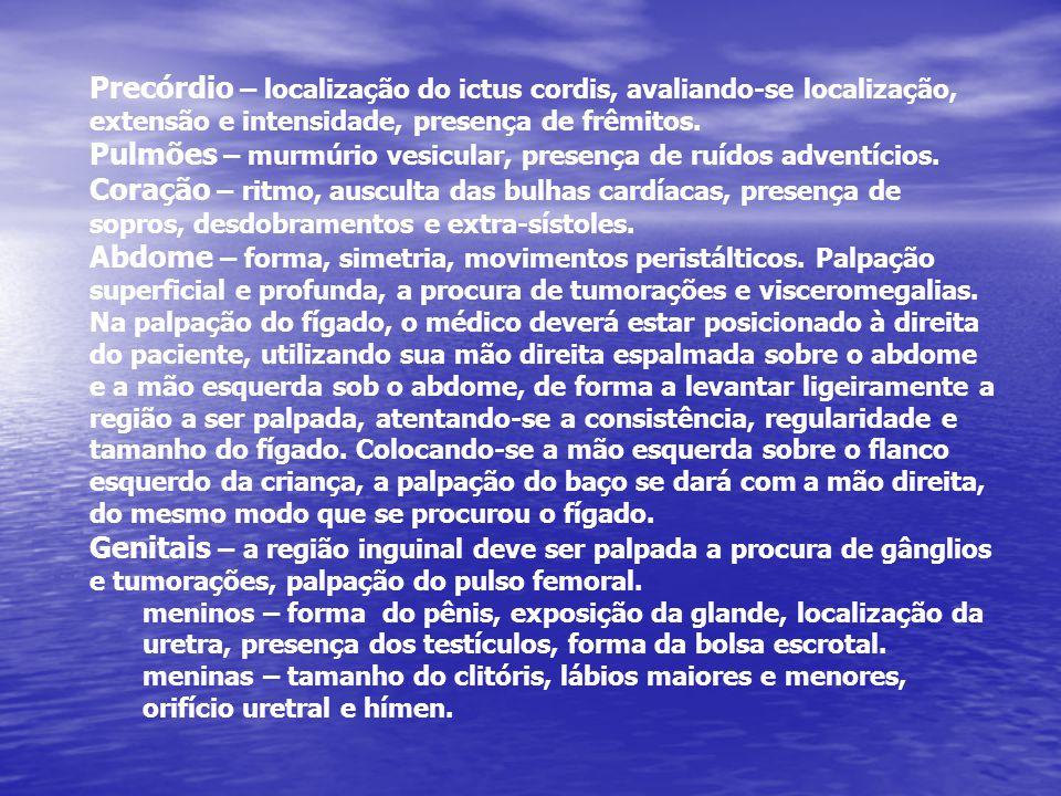 Pulmões – murmúrio vesicular, presença de ruídos adventícios.