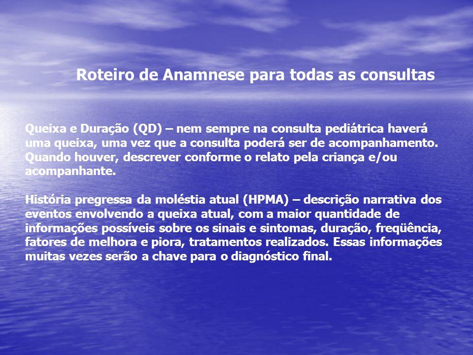 Roteiro de Anamnese para todas as consultas