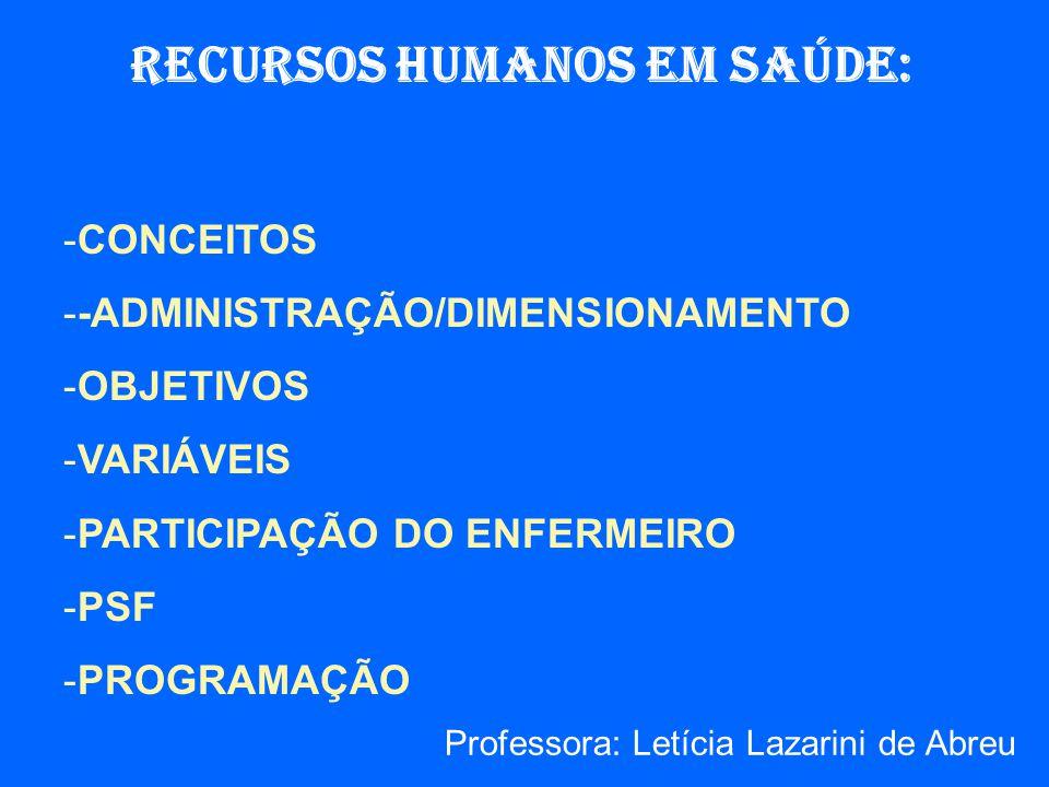 RECURSOS HUMANOS EM SAÚDE: