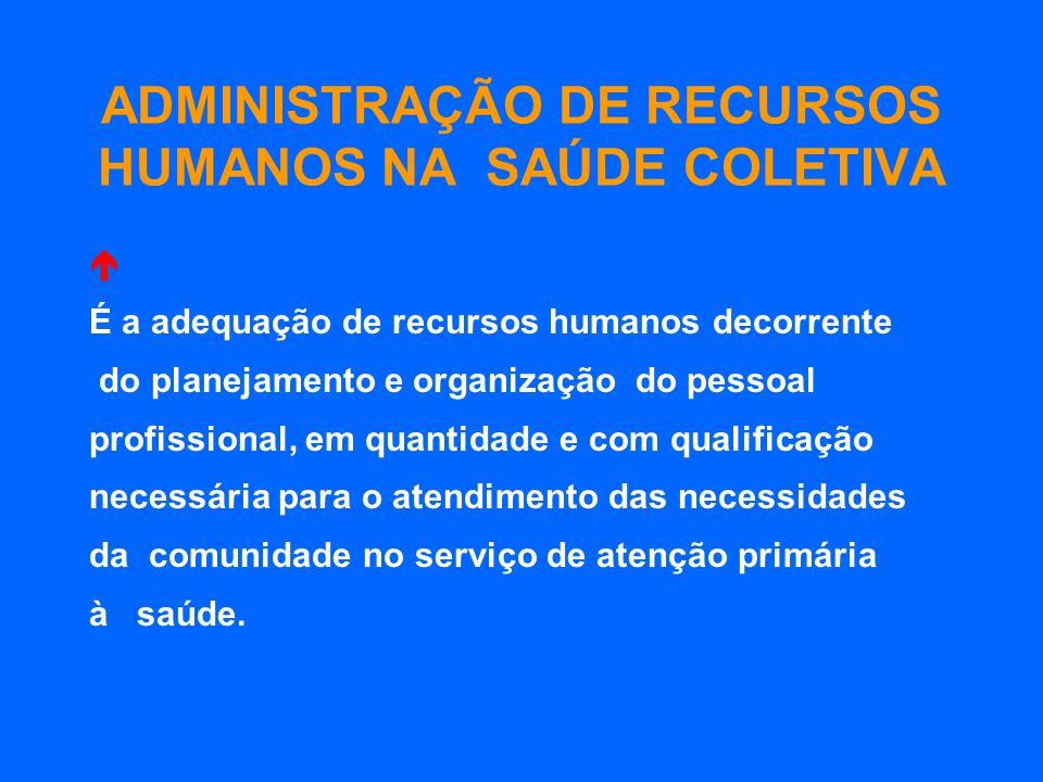 ADMINISTRAÇÃO DE RECURSOS HUMANOS NA SAÚDE COLETIVA