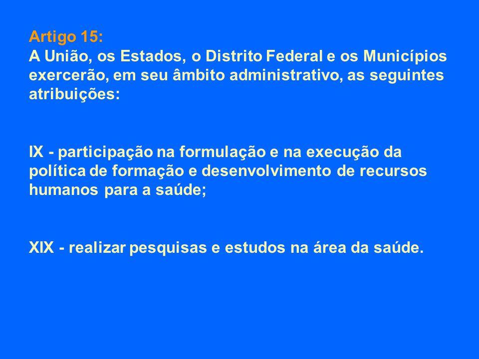 Artigo 15: A União, os Estados, o Distrito Federal e os Municípios exercerão, em seu âmbito administrativo, as seguintes atribuições: