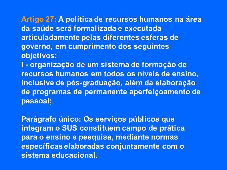 Artigo 27: A política de recursos humanos na área da saúde será formalizada e executada articuladamente pelas diferentes esferas de governo, em cumprimento dos seguintes objetivos: