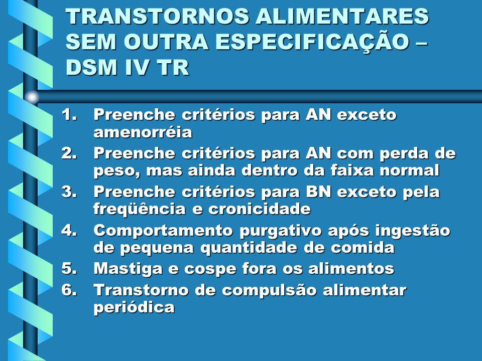 TRANSTORNOS ALIMENTARES SEM OUTRA ESPECIFICAÇÃO – DSM IV TR