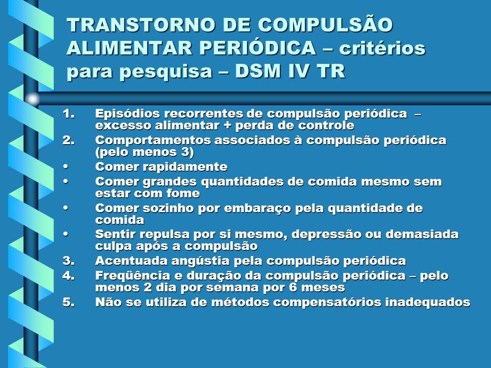 TRANSTORNO DE COMPULSÃO ALIMENTAR PERIÓDICA – critérios para pesquisa – DSM IV TR