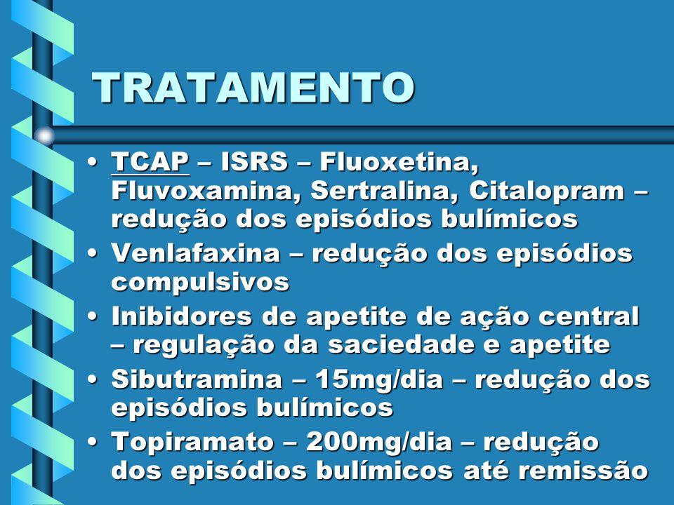 TRATAMENTO TCAP – ISRS – Fluoxetina, Fluvoxamina, Sertralina, Citalopram – redução dos episódios bulímicos.