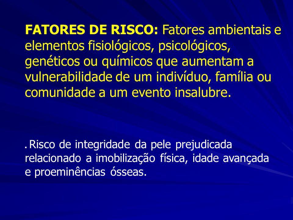 FATORES DE RISCO: Fatores ambientais e elementos fisiológicos, psicológicos, genéticos ou químicos que aumentam a vulnerabilidade de um indivíduo, família ou comunidade a um evento insalubre.