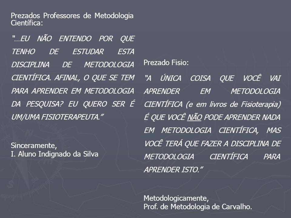 Prezados Professores de Metodologia Científica: