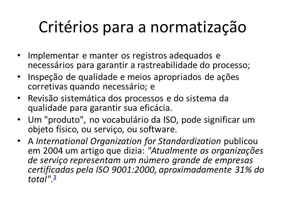 Critérios para a normatização