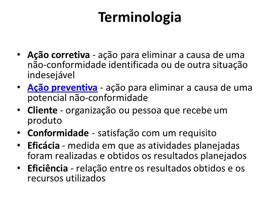 Terminologia Ação corretiva - ação para eliminar a causa de uma não-conformidade identificada ou de outra situação indesejável.