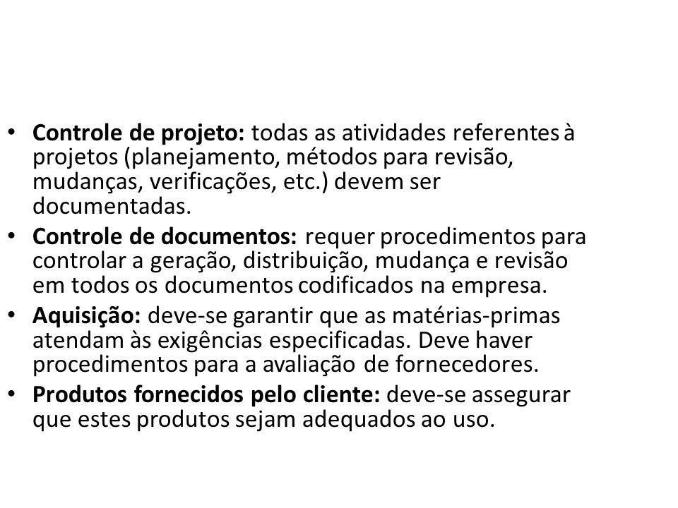 Controle de projeto: todas as atividades referentes à projetos (planejamento, métodos para revisão, mudanças, verificações, etc.) devem ser documentadas.