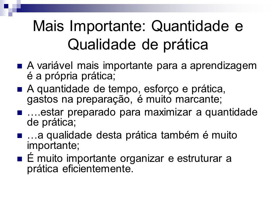 Mais Importante: Quantidade e Qualidade de prática