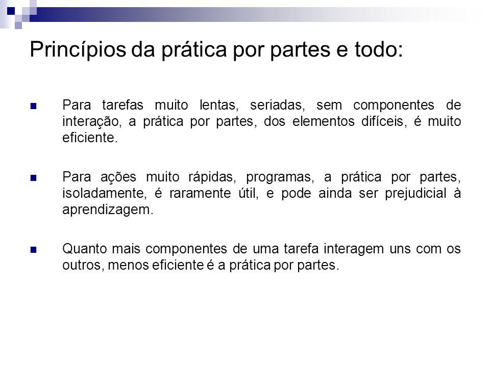Princípios da prática por partes e todo: