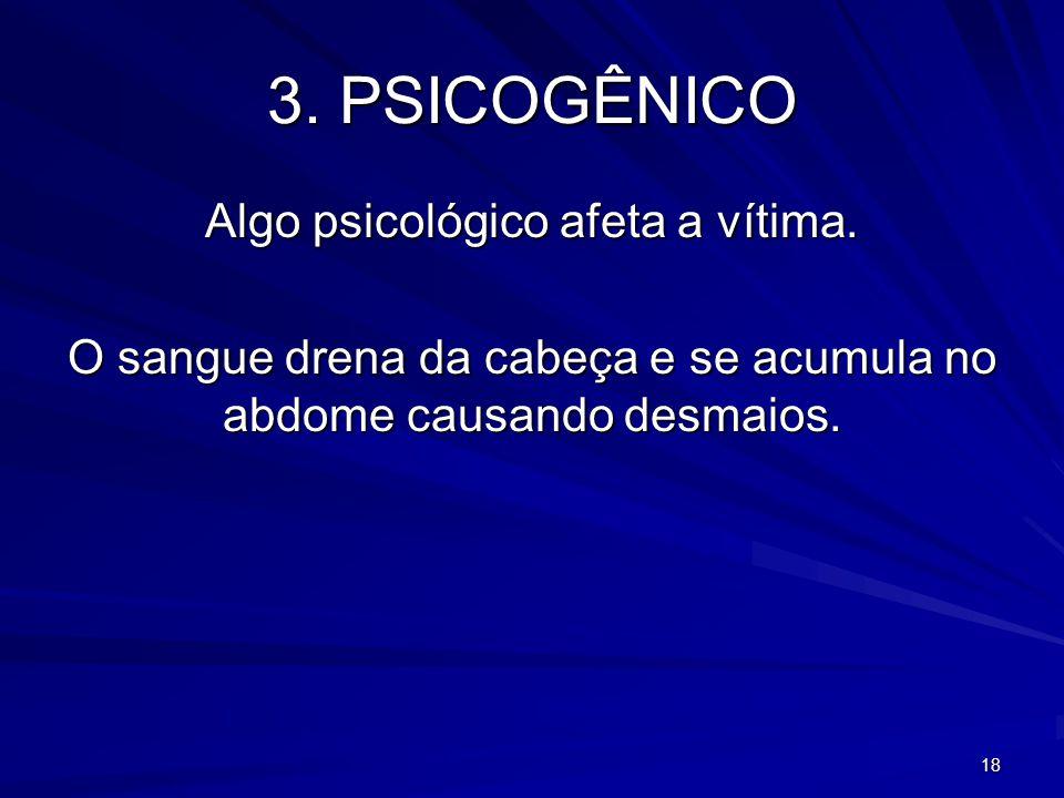 3. PSICOGÊNICO Algo psicológico afeta a vítima.