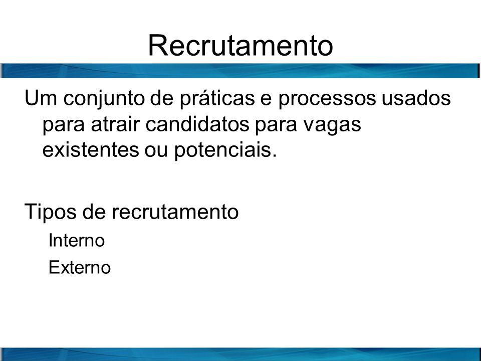 Recrutamento Um conjunto de práticas e processos usados para atrair candidatos para vagas existentes ou potenciais.