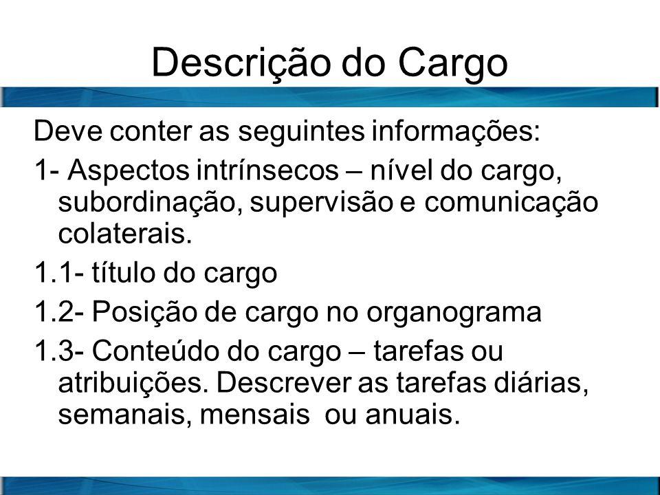 Descrição do Cargo Deve conter as seguintes informações:
