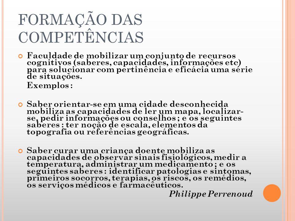 FORMAÇÃO DAS COMPETÊNCIAS