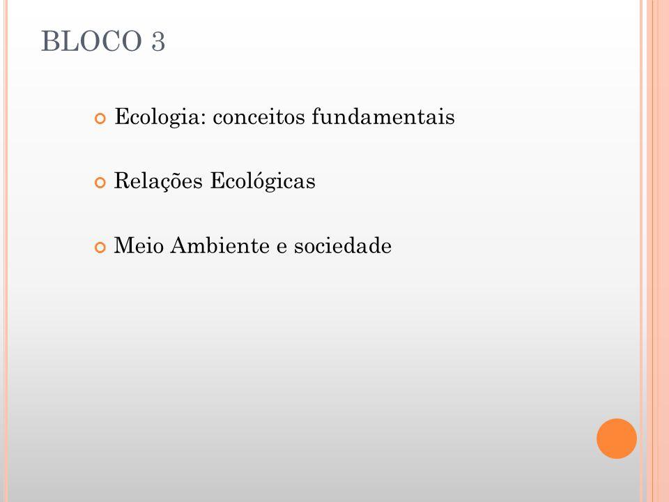 BLOCO 3 Ecologia: conceitos fundamentais Relações Ecológicas