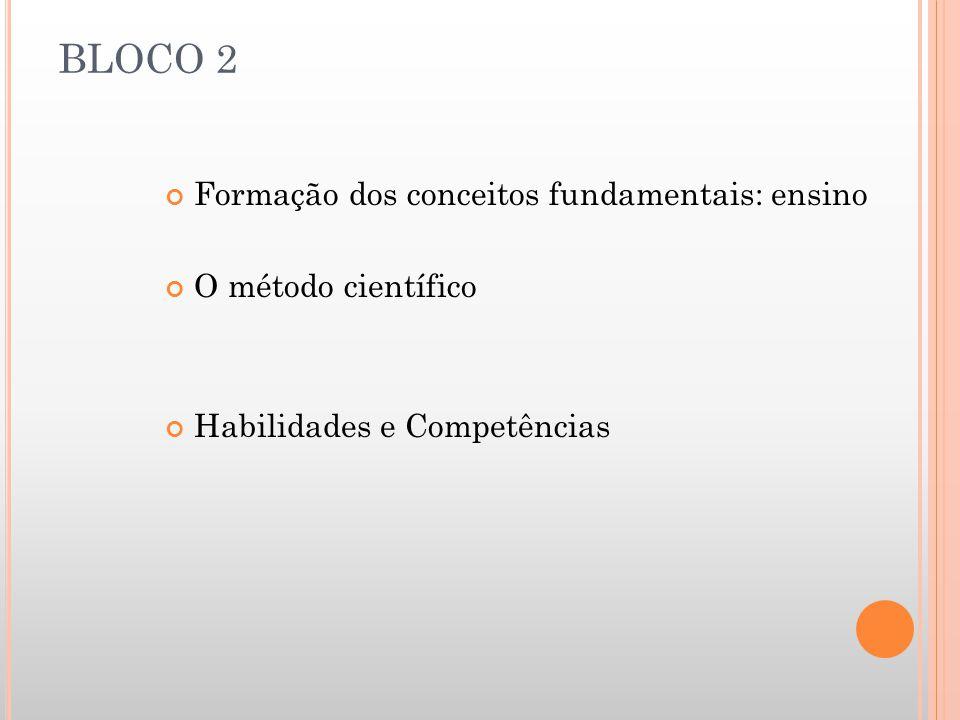 BLOCO 2 Formação dos conceitos fundamentais: ensino