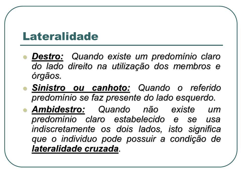 Lateralidade Destro: Quando existe um predomínio claro do lado direito na utilização dos membros e órgãos.