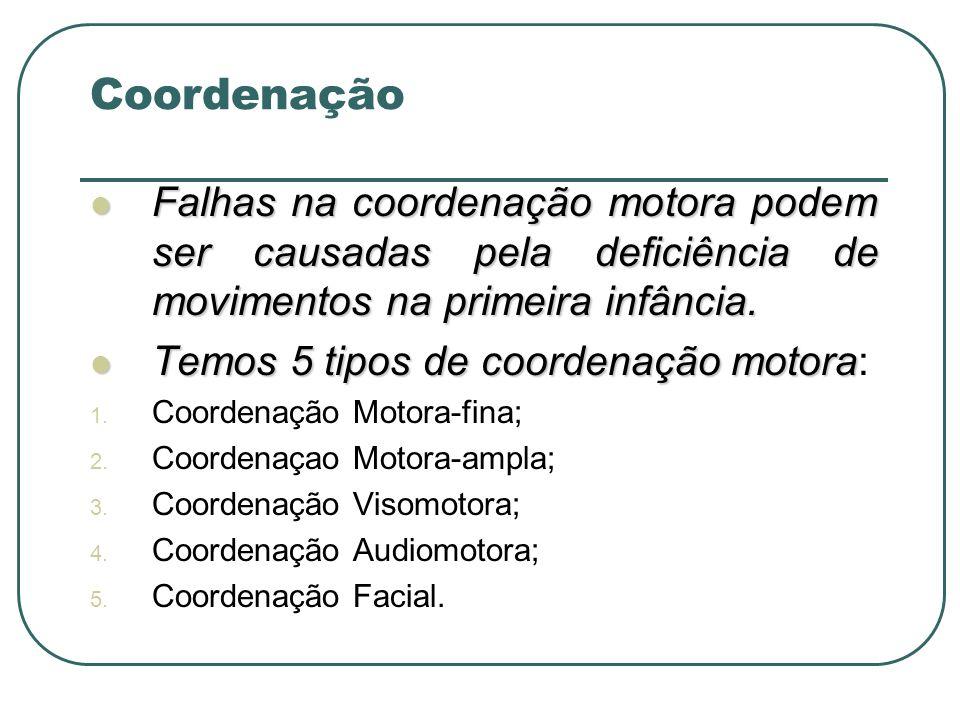 Coordenação Falhas na coordenação motora podem ser causadas pela deficiência de movimentos na primeira infância.
