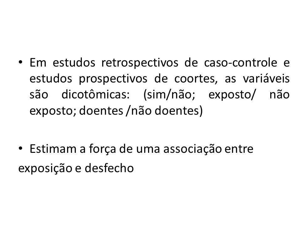 Em estudos retrospectivos de caso-controle e estudos prospectivos de coortes, as variáveis são dicotômicas: (sim/não; exposto/ não exposto; doentes /não doentes)