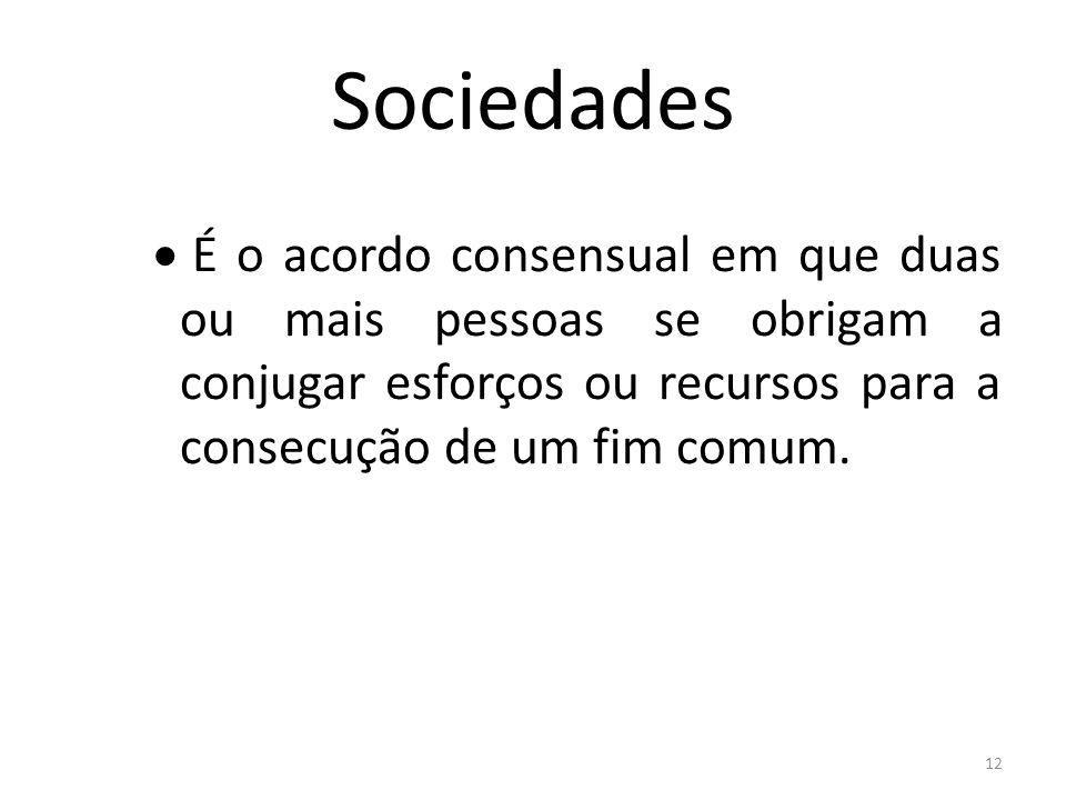 Sociedades É o acordo consensual em que duas ou mais pessoas se obrigam a conjugar esforços ou recursos para a consecução de um fim comum.