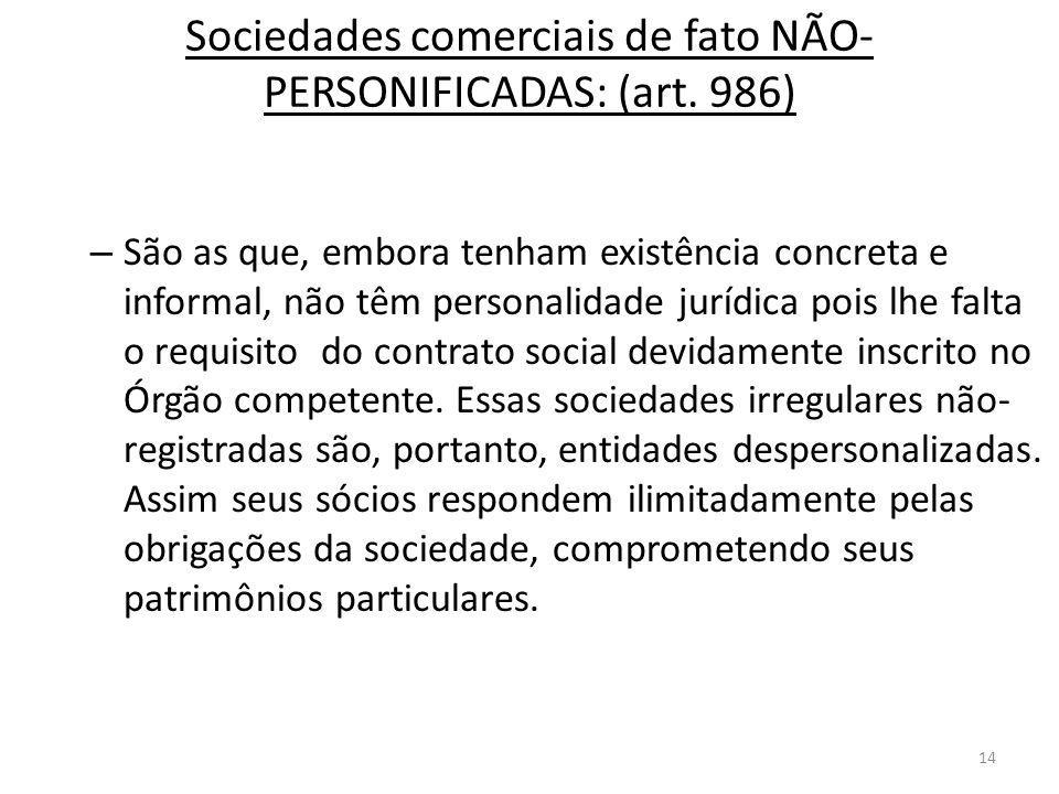 Sociedades comerciais de fato NÃO-PERSONIFICADAS: (art. 986)
