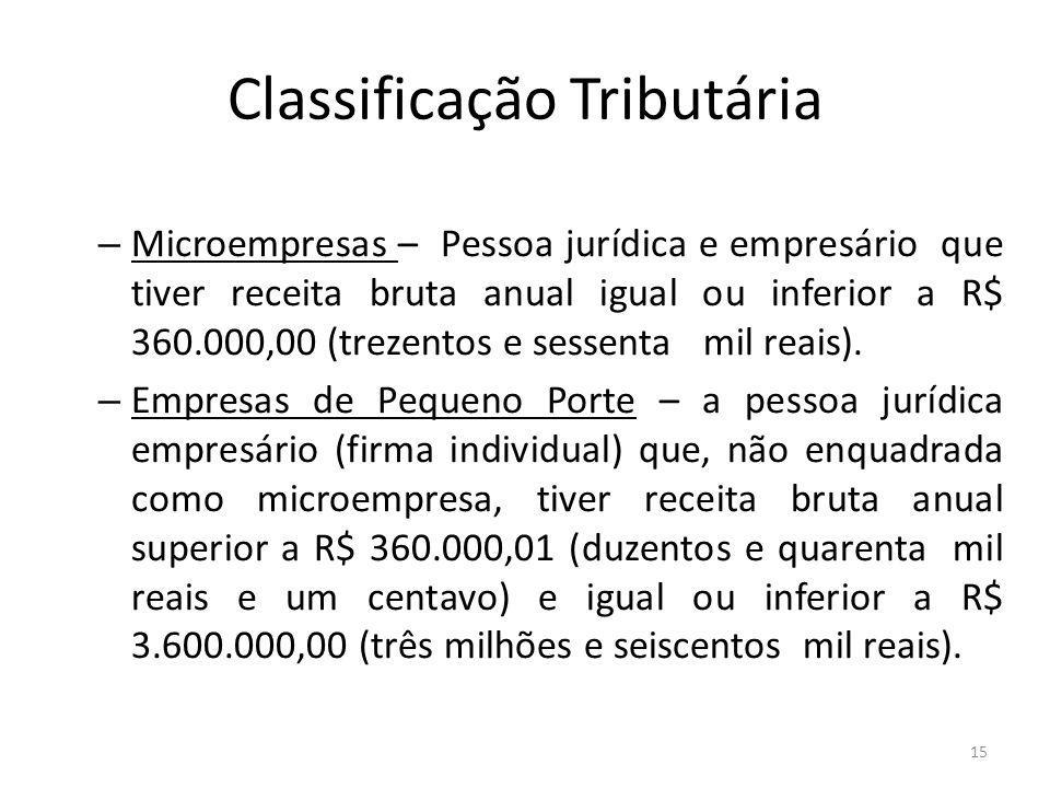 Classificação Tributária