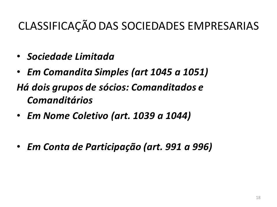 CLASSIFICAÇÃO DAS SOCIEDADES EMPRESARIAS