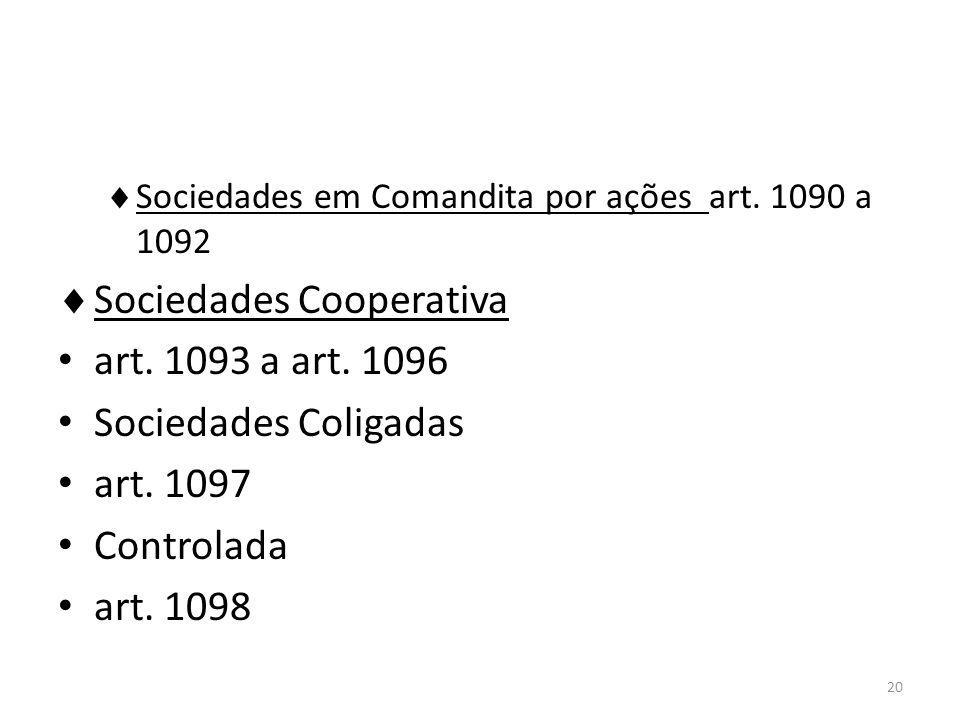 Sociedades Cooperativa art. 1093 a art. 1096 Sociedades Coligadas