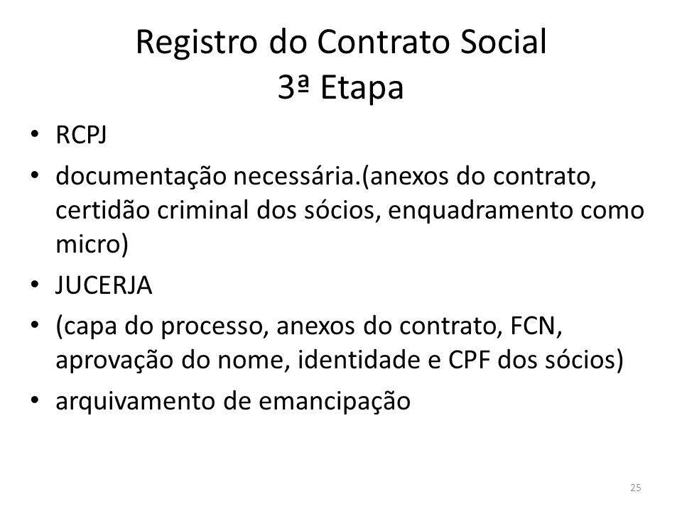 Registro do Contrato Social 3ª Etapa