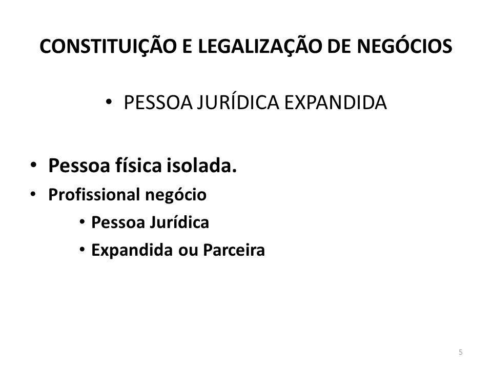 CONSTITUIÇÃO E LEGALIZAÇÃO DE NEGÓCIOS