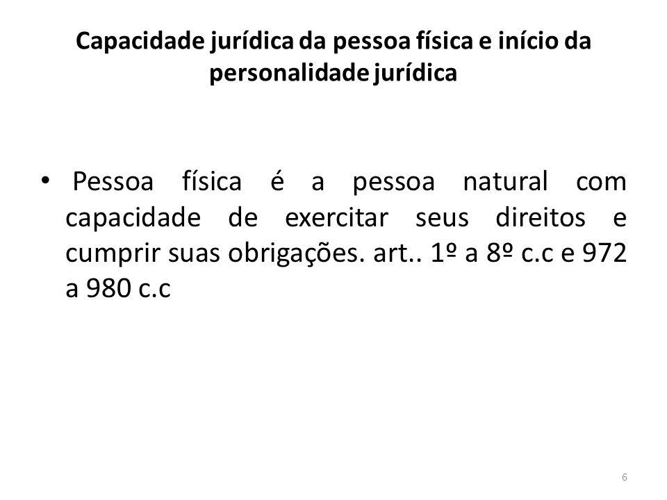 Capacidade jurídica da pessoa física e início da personalidade jurídica