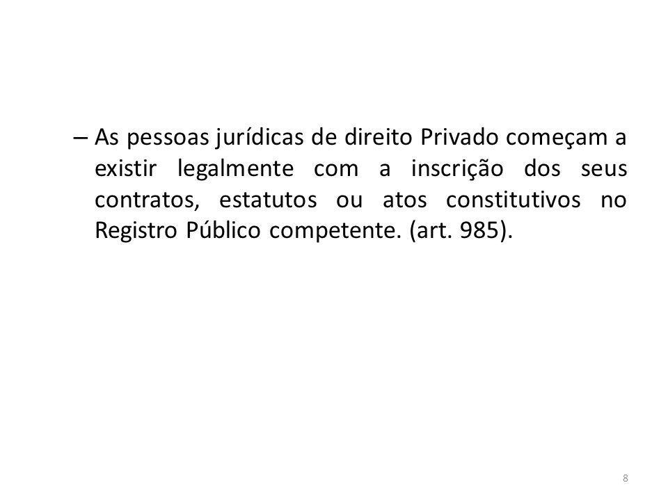 As pessoas jurídicas de direito Privado começam a existir legalmente com a inscrição dos seus contratos, estatutos ou atos constitutivos no Registro Público competente.