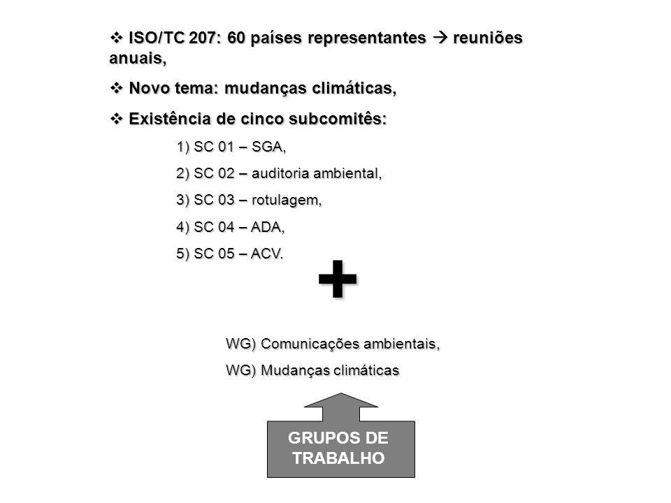 + ISO/TC 207: 60 países representantes  reuniões anuais,