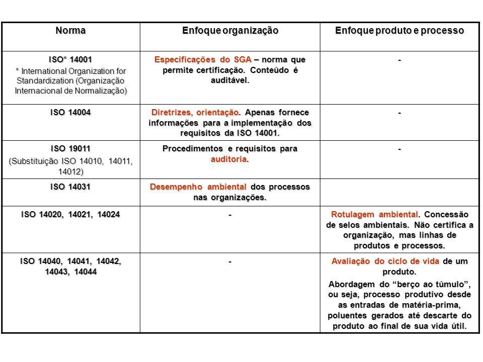 Norma Enfoque organização Enfoque produto e processo