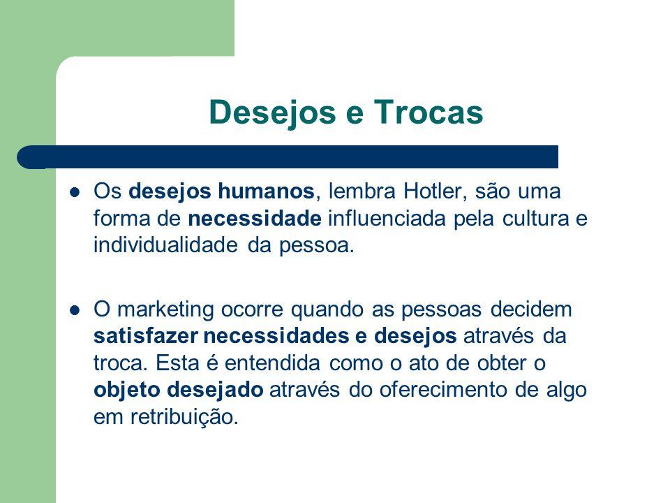 Desejos e Trocas Os desejos humanos, lembra Hotler, são uma forma de necessidade influenciada pela cultura e individualidade da pessoa.