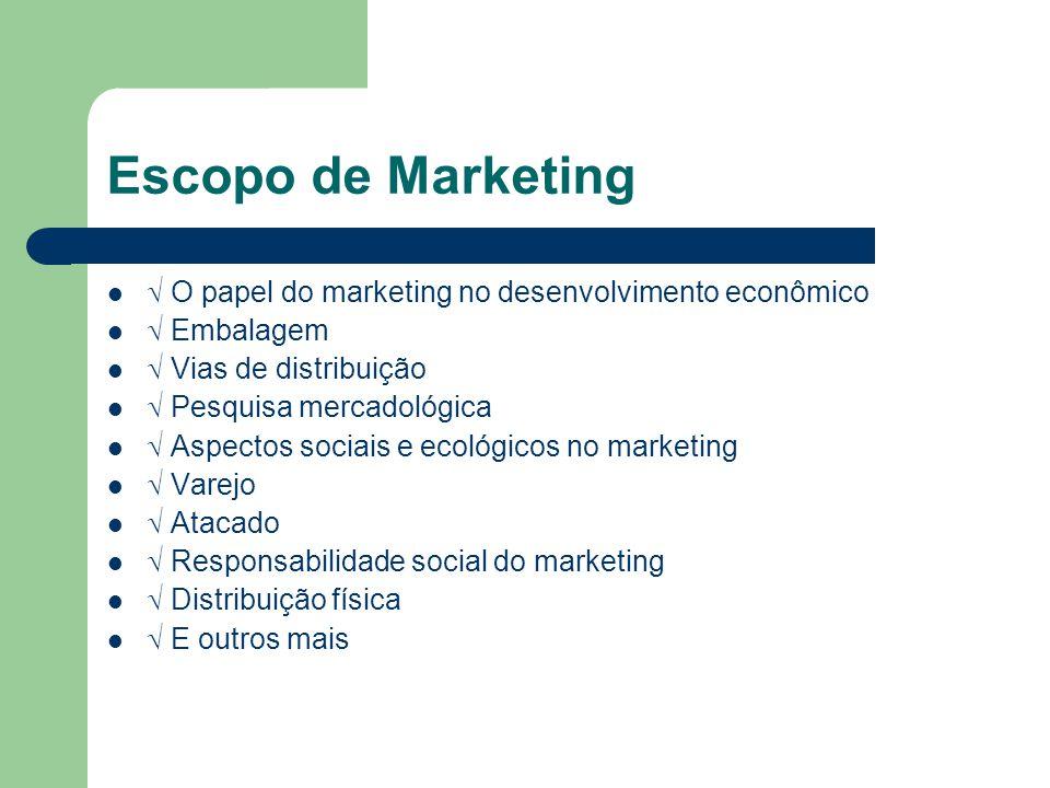Escopo de Marketing  O papel do marketing no desenvolvimento econômico.  Embalagem.  Vias de distribuição.