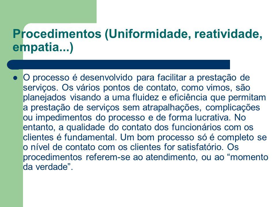 Procedimentos (Uniformidade, reatividade, empatia...)