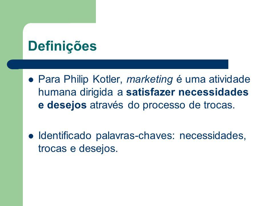 Definições Para Philip Kotler, marketing é uma atividade humana dirigida a satisfazer necessidades e desejos através do processo de trocas.