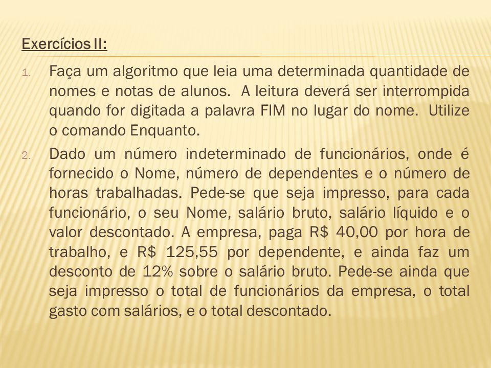 Exercícios II: