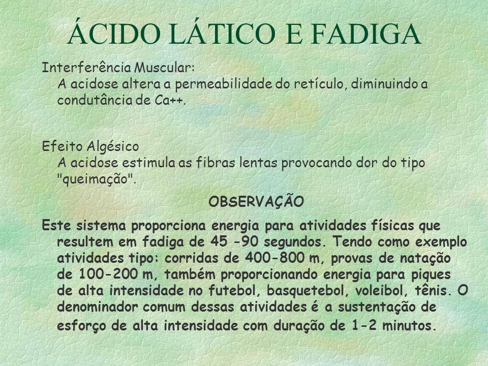 ÁCIDO LÁTICO E FADIGA Interferência Muscular: A acidose altera a permeabilidade do retículo, diminuindo a condutância de Ca++.