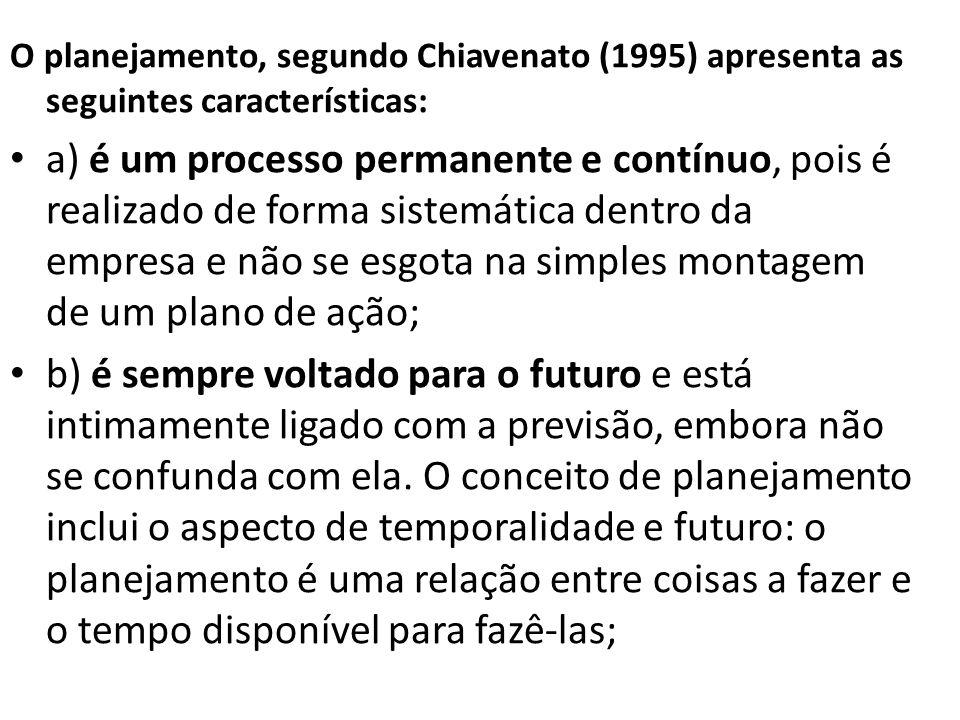 O planejamento, segundo Chiavenato (1995) apresenta as seguintes características: