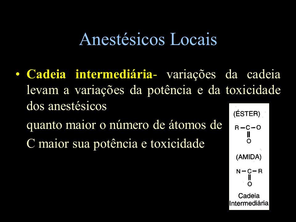 Anestésicos Locais Cadeia intermediária- variações da cadeia levam a variações da potência e da toxicidade dos anestésicos.