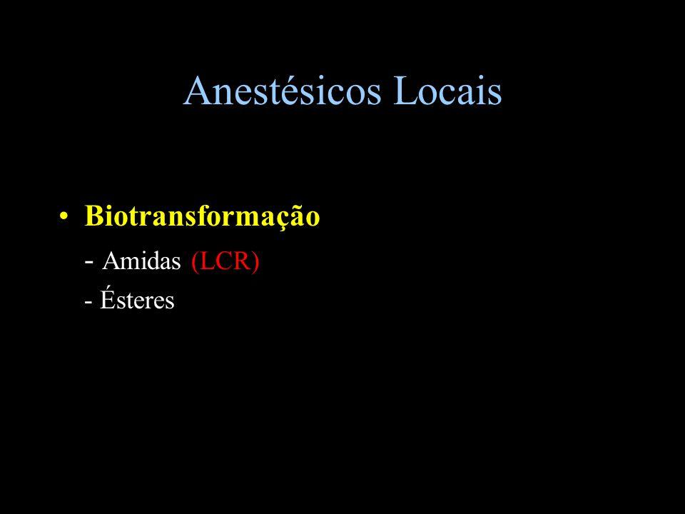 Anestésicos Locais Biotransformação - Amidas (LCR) - Ésteres