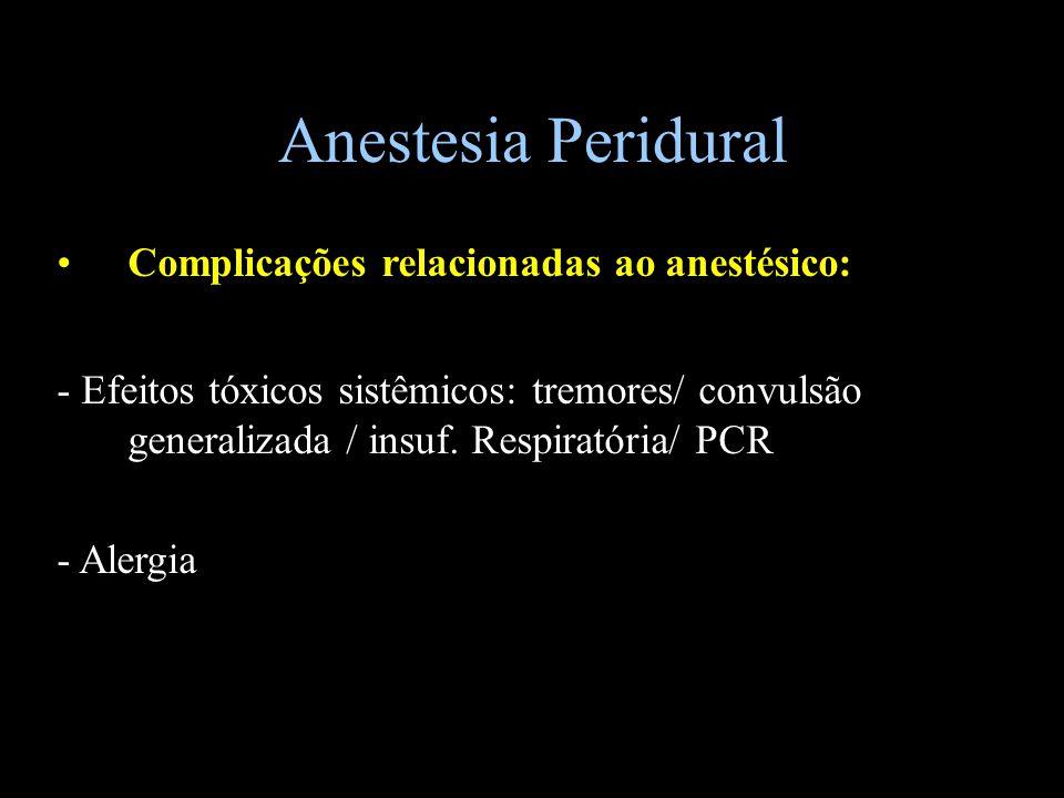 Anestesia Peridural Complicações relacionadas ao anestésico: