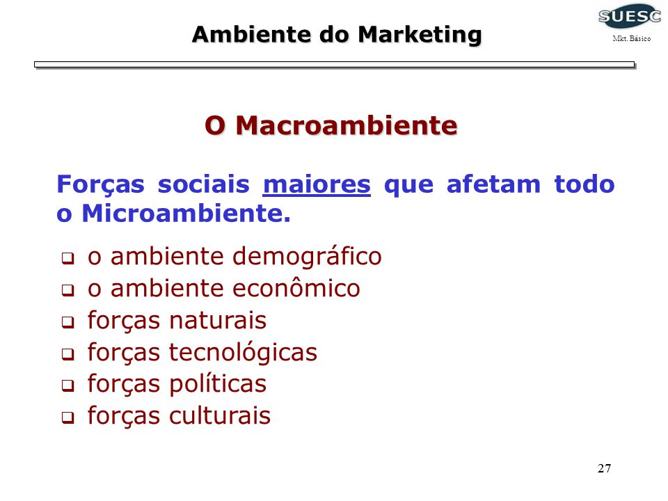 Ambiente do Marketing Mkt. Básico. O Macroambiente. Forças sociais maiores que afetam todo o Microambiente.